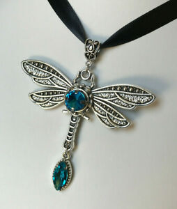 Gothic Victorian Large Dragonfly Medieval Black Ribbon Pendant Necklace Choker