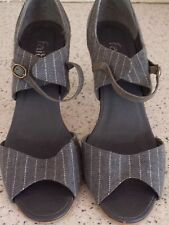 FAITH, Ladies Grey Pin Stripped Heeled Shoes, Size 7