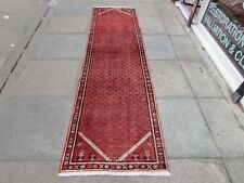 Vintage Traditional Hand Made Oriental Red Pink Wool Long Narrow Runner 278x74cm