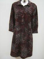 Next Floral Printed Dropped Waist Knee Length Burgundy Shirt Dress Size 12-14