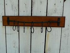 Primitive vintage wood & metal with 6 hooks country farmhouse home/wall decor