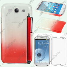 Housse Etui Coque Gouttelettes Rouge Samsung Galaxy S3 i9300 + Stylet + 3 Films