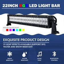 "22""INCH 400W RGB LED Light Bar Offroad Bluetooth Music Flashing Multi Color 24"""