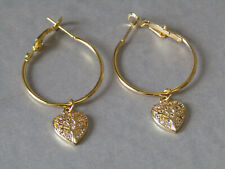 Cubic Zirconia Heart with Tree of Life Leaver Back Hoop Gold Plated Earrings