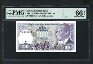 Turkey 1000 Lira 1986 P196 Uncirculated Graded 66