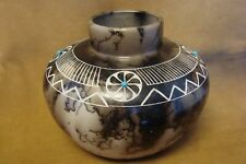 Acoma Pueblo Etched Horse Hair Pot by Gary Yellow Corn