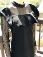 Paper Doll, Sheer Long Sleeved Black Above Knee Dress. Size Large.