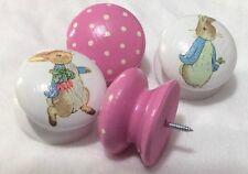 Handcrafted Large Pink Beatrix Potter Peter Rabbit Polka Dot  Drawer Knobs x 4