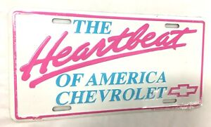 HEARTBEAT OF AMERICA CHEVROLET METAL TIN LICENSE PLATE WALL SIGN CHEVY WHITE