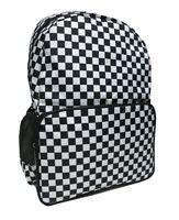 CHECKER BLACK WHITE Backpack Rucksack School Skate Check EMO GOTH Laptop Bag