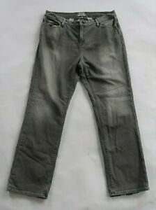 LL Bean Womens Cotton Lined Favorite Fit Straight Leg Gray Wash Denim Jeans 14