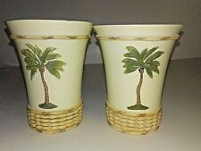 Decorative Palm Trees Wicker Basket Design Toothbrush Holder and Cup Ceramic