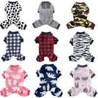 Warm Fleece Dog Pajamas Jumpsuit Pet Clothes Cat Coat Homewear Puppy Costume New