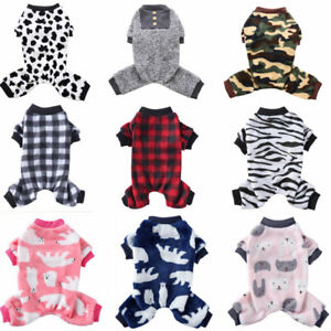 Warm Fleece Dog Pajamas Jumpsuit Xmas Pet Clothes Cat Coat Homewear Puppy Outfit