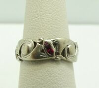 14K White Gold Marquise Ruby Eternity Ring Size 4.5 6.2mm 3.3 Grams M617