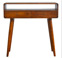 Solid Dark Wood Scandinavian Style Console Table Hallway Unit with Rounded Edges