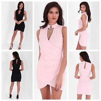 Womens Choker V Neck Cross Wrap Over Evening Short Mini Bodycon Party Dress 8-14