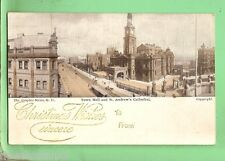 #D. CHRISTMAS  POSTCARD -  TOWN HALL & ST ANDREWS CATHEDRAL