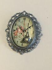 time , floural, plus gift bag Oval vintage style clock brooch ,