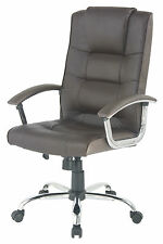 Berlin leather faced swivel executive business office computer chair in Brown