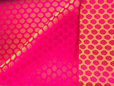 Luxurious Handwoven Royal Pink Benarasi Brocade Double-Sided Motifs Silk Fabric