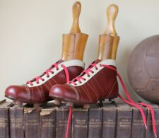 VINTAGE Jen CONTINENTAL Scarpe da calcio. Old Red Leather CALCIO Cunei c1940