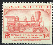 Chile Railroad 100 Ann Locomotive stamp 1951 MNH
