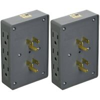 2 PACK SIDE ENTRY 6-WAY ELECTRICAL SOCKET OUTLET SPLITTER IN-WALL TAP ADAPTER