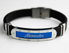 Alexandre - Mens Silicone & Blue Name Plate Engraved Bracelet - Gifts For Him
