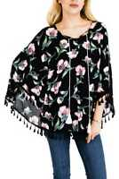 Women's Floral Print Kimono Cardigan Sheer Chiffon Loose Blouse with Fringe