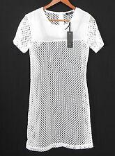 Dex Summer Dress White Short Sleeve Mini Cut Out Fabric Size XS