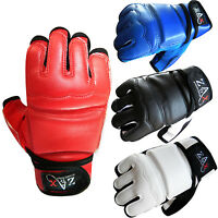 Leather Combat Gel Gloves Padded Martial Art MMA Boxing Karate Gloves ADULTS
