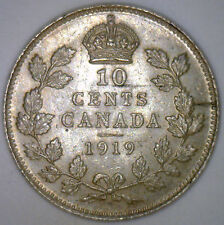 1919 Canada Canadian Silver Ten Cent Coin 10 Cents George V BU UNC #Y1