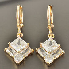 yellow Gold Filled Vintage womens Crystals square cute small Dangle Earrings LOT