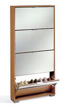 Armario mueble zapatero color cerezo de 4 puertas abatibles y espejos dormitorio