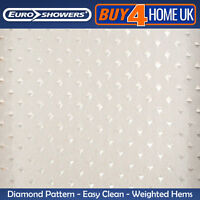 Euroshowers White Diamond Shower Curtains - Weighted Hem (Large Wide Long Short)