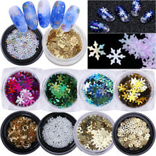 Christmas Snowflake Nail Art Glitter Sequins Manicure 3D Nail Decoration Tips
