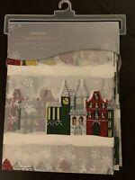 "Holiday Christmas Village Shower Curtain 72"" x 72"" Premium Liner"