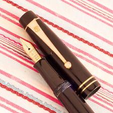 More details for vintage british onoto the de la rue tdlr royal black gold trim fountain pen