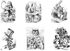 Alice In Wonderland Black and White Edible Icing Sheet Cake Toppers x 6