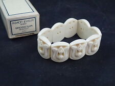Vintage 1982 Avon Faux Ivory Gracious Tulips Stretch Bracelet Small