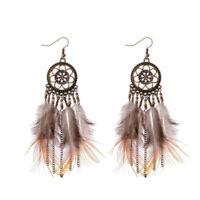 HB- Fashion Women Dream Catcher Feather Long Dangle Hook Earrings Tassel Gift Ho