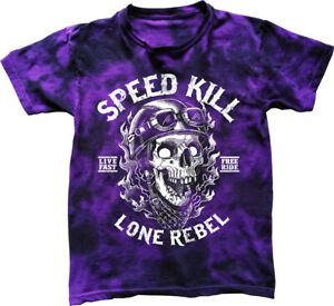 Speed Kill T-Shirt mens S-5XL Biker tee skull motorcycle rock bike tie dyed