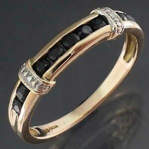 Low Narrow 9 Natural Blue SAPPHIRE 9k Solid Yellow GOLD ETERNITY RING Sz M
