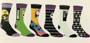 The Nightmare Before Christmas Men's Casual Crew Socks 6 Pairs Shoe Size 8-12