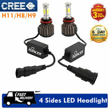 2x H11 H8 H9 COB LED Headlight 6000K 1200W 198000LM High Beam Canbus Error Free