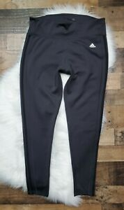 Women's Adidas Climalite Athletic Leggings Size XL Gray /Black Stripes