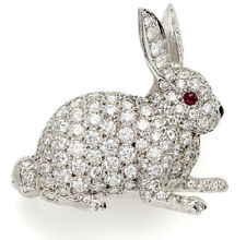 4.13CT NATURAL ROUND DIAMOND RUBY GEMSTONE 14K SOLID WHITE GOLD BUNNY BROOCH PIN