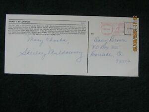 NHRA Original Autographs. Shirley Muldowney. Signed 4 x 9 Color Postcard