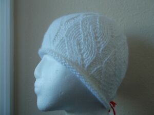 Hand knitted beautiful lacy beanie/hat, snow white (small/youth)